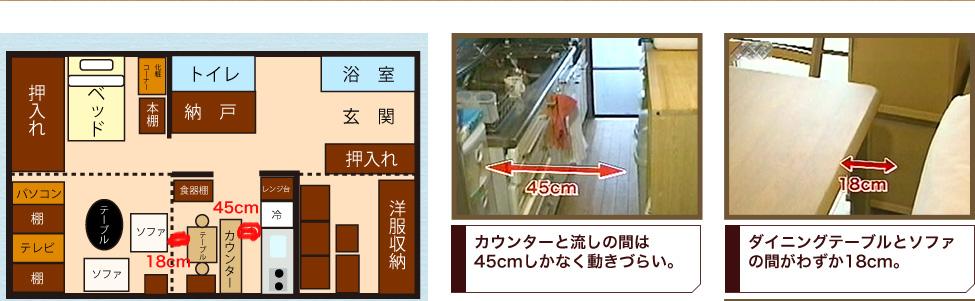 カウンターと流しの間は45cmしかなく動きづらい。ダイニングテーブルとソファの間がわずか18cm。
