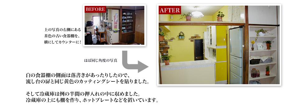 上の写真の右側にある茶色の古い食器棚を、横にしてカウンターに!白の食器棚の側面は落書きがあったりしたので、流し台の扉と同じ黄色のカッティングシートを貼りました。そして冷蔵庫は例の半間の押入れの中に収めました。冷蔵庫の上にも棚を作り、ホットプレートなどを置いています。