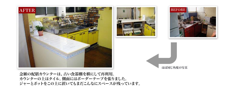 念願の配膳カウンターは、古い食器棚を横にして再利用。カウンターの上はタイル。側面にはボーダーテープを張りました。ジャーとポットをこの上に置いてもまだこんなにスペースが残っています