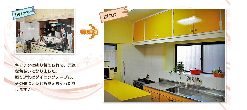 キッチンは塗り替えられて、元気な色あいになりました。振り返ればダイニングテーブル、その先にテレビも見えちゃったりします♪