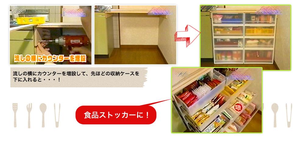 流しの横にカウンターを増設して、先ほどの収納ケースを下に入れると・・・、食品ストッカーの完成!
