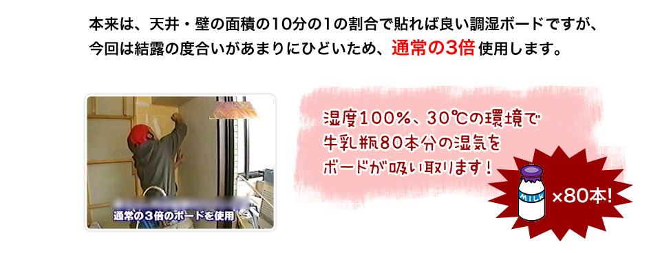 本来は、天井・壁の面積の10分の1の割合で貼れば良い調湿ボードですが、今回は結露の度合いがあまりにひどいため、通常の3倍使用します。