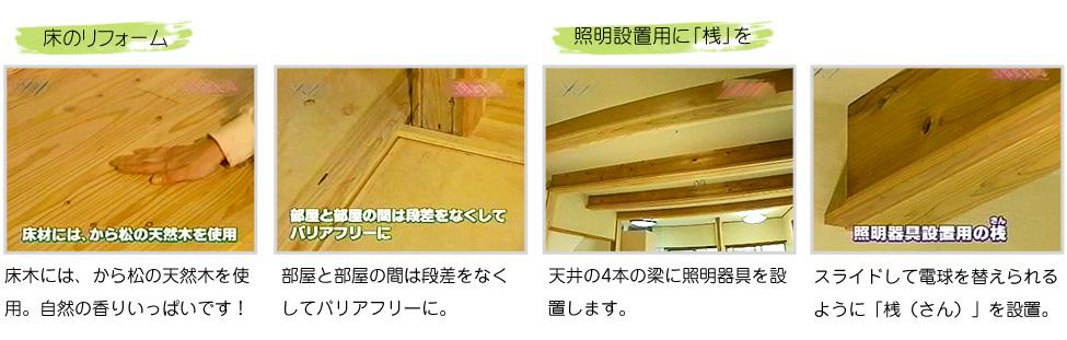 床木には、から松の天然木を使用。自然の香りいっぱいです!スライドして電球を替えられるように「桟(さん)」を設置。