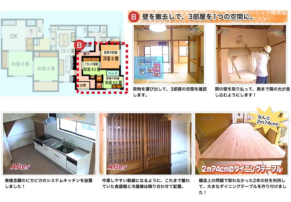 壁を撤去して、3部屋を1つの空間に。