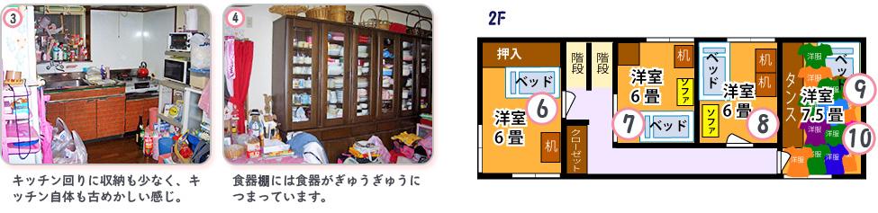 Before:3,キッチン回りに収納も少なく、キッチン自体も古めかしい感じ4,食器棚には食器がぎゅうぎゅうにつまっています。