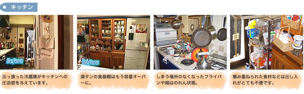 Before:「キッチン」1,出っ張った冷蔵庫がキッチンへの圧迫感を与えています。 2,満タンの食器棚はもう容量オーバーに。3,しまう場所のなくなったフライパンや鍋はのれん状態。 4,積み重ねられた食材などは出し入れがとても不便です。