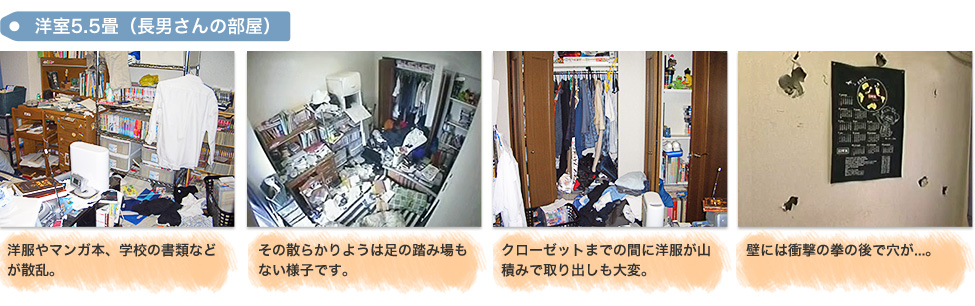 Before:「洋室5.5畳(長男さんの部屋)」1,洋服やマンガ本、学校の書類などが散乱。 2,その散らかりようは足の踏み場もない様子です。 3,クローゼットまでの間に洋服が山積みで取り出しも大変。 4,壁には衝撃の拳の後で穴が...。