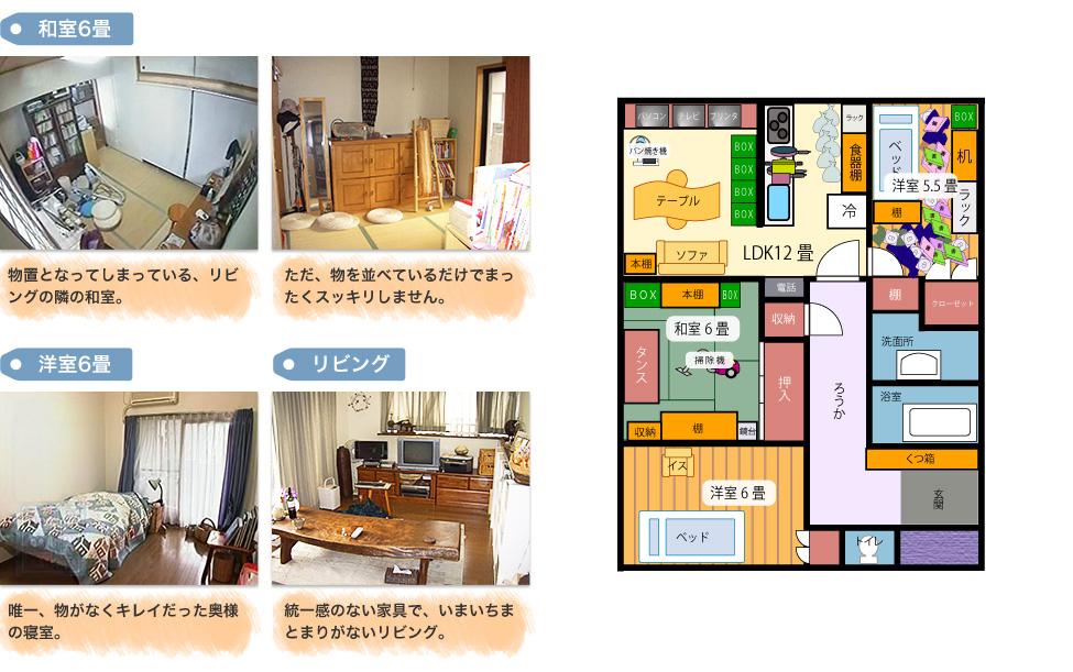 Before:「和室6畳」1,物置となってしまっている、リビングの隣の和室。 2,ただ、物を並べているだけでまったくスッキリしません。 「洋室6畳」唯一、物がなくキレイだった奥様の寝室。「リビング」統一感のない家具で、いまいちまとまりがないリビング。