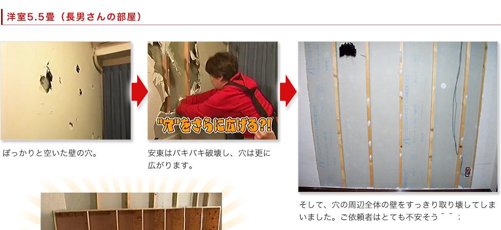 洋室5.5畳(長男さんの部屋):1,ぽっかりと空いた壁の穴。2,安東はバキバキ破壊し、穴は更に広がります。 3,そして、穴の周辺全体の壁をすっきり取り壊してしまいました。ご依頼者はとても不安そう^^;