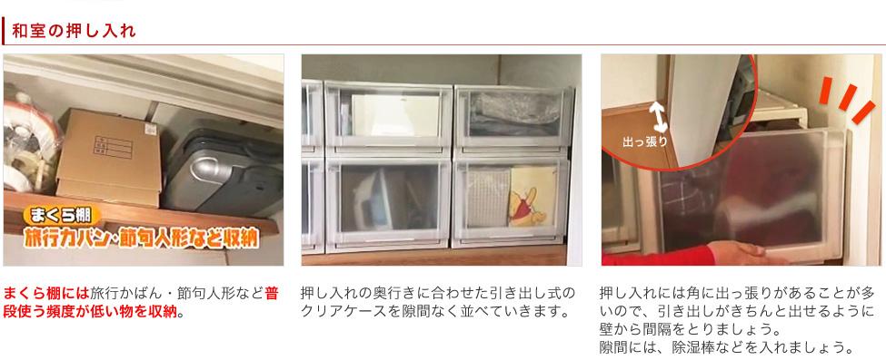 和室の押し入れ:1,まくら棚には旅行かばん・節句人形など普段使う頻度が低い物を収納。 2,押し入れの奥行きに合わせた引き出し式のクリアケースを隙間なく並べていきます。 3,押し入れには角に出っ張りがあることが多いので、引き出しがきちんと出せるように壁から間隔をとりましょう。隙間には、除湿棒などを入れましょう。