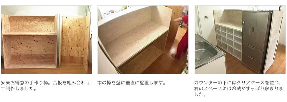 キッチン:1,安東お得意の手作り枠。合板を組み合わせて制作しました。 2,木の枠を壁に垂直に配置します。 3,カウンターの下にはクリアケースを並べ、右のスペースには冷蔵がすっぽり収まりました。