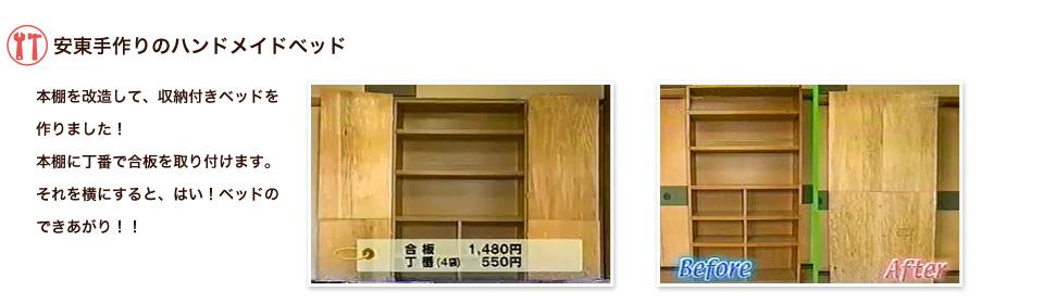 安東手作りのハンドメイドベッド。本棚を改造して、収納付きベッドを作りました!本棚に丁番で合板を取り付けます。それを横にすると、はい!ベッドのできあがり!!