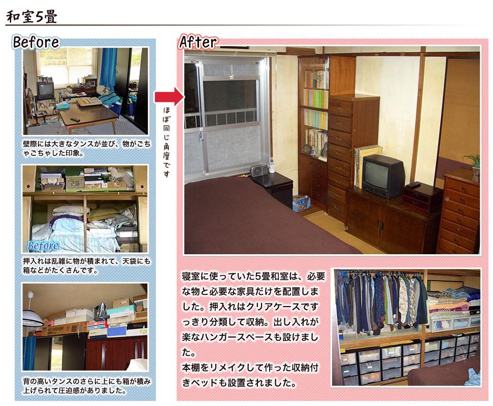 和室5畳:寝室に使っていた5畳和室は、必要な物と必要な家具だけを配置しました。押入れはクリアケースですっきり分類して収納。出し入れが楽なハンガースペースも設けました。本棚をリメイクして作った収納付きベッドも設置されました。