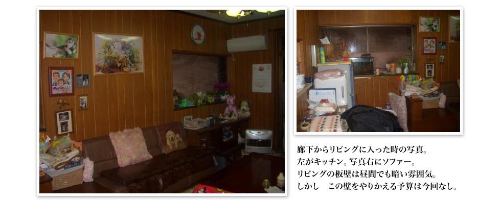廊下からリビングに入った時の写真。左がキッチン。写真右にソファー。リビングの板壁は昼間でも暗い雰囲気。しかし この壁をやりかえる予算は今回なし。