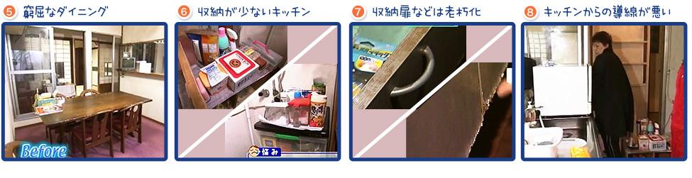 Before:5,窮屈なダイニング。6,収納が少ないキッチン。7,収納扉などは老朽化。8,キッチンからの導線が悪い。