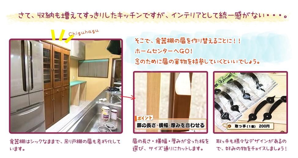さて、収納も増えてすっきりしたキッチンですが、インテリアとして統一感がない・・・。→そこで、食器棚の扉を作り替えることに!!ホームセンターへGO!念のために扉の実物を持参していくといいでしょう。1,食器棚はシックなままで、吊り戸棚の扉も老朽化しています。2,扉の長さ・横幅・厚みが合った板を選び、サイズ通りにカットします。3,取っ手も様々なデザインがあるので、好みの物をチョイスしましょう!