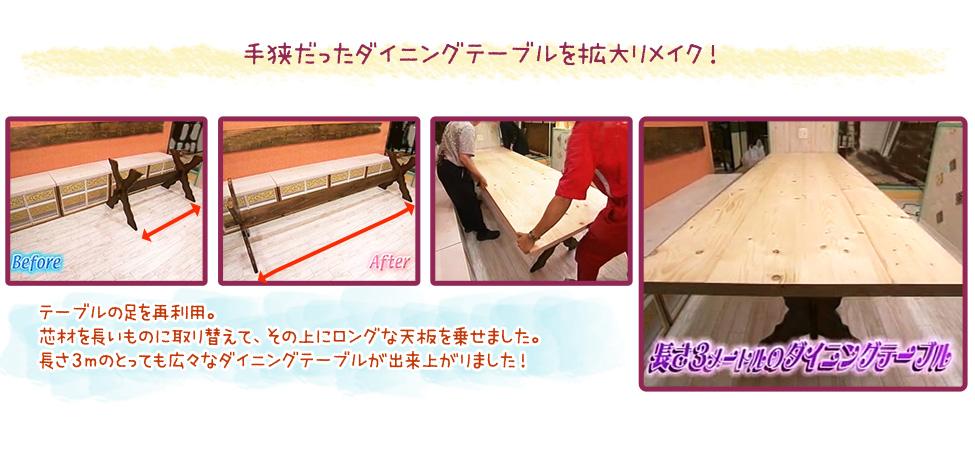 手狭だったダイニングテーブルを拡大リメイク!テーブルの足を再利用。芯材を長いものに取り替えて、その上にロングな天板を乗せました。長さ3mのとっても広々なダイニングテーブルが出来上がりました!
