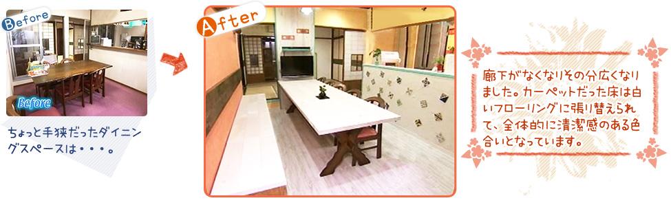 ちょっと手狭だったダイニングスペースは・・・。→廊下がなくなりその分広くなりました。カーペットだった床は白いフローリングに張り替えられて、全体的に清潔感のある色合いとなっています。