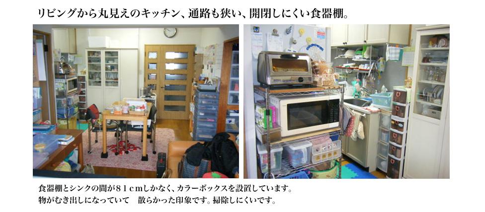 リビングから丸見えのキッチン、通路も狭い、開閉しにくい食器棚。 食器棚とシンクの間が81cmしかなく、カラーボックスを設置しています。物がむき出しになっていて 散らかった印象です。掃除しにくいです。