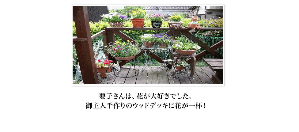 要子さんは、花が大好きでした。御主人手作りのウッドデッキに花が一杯!