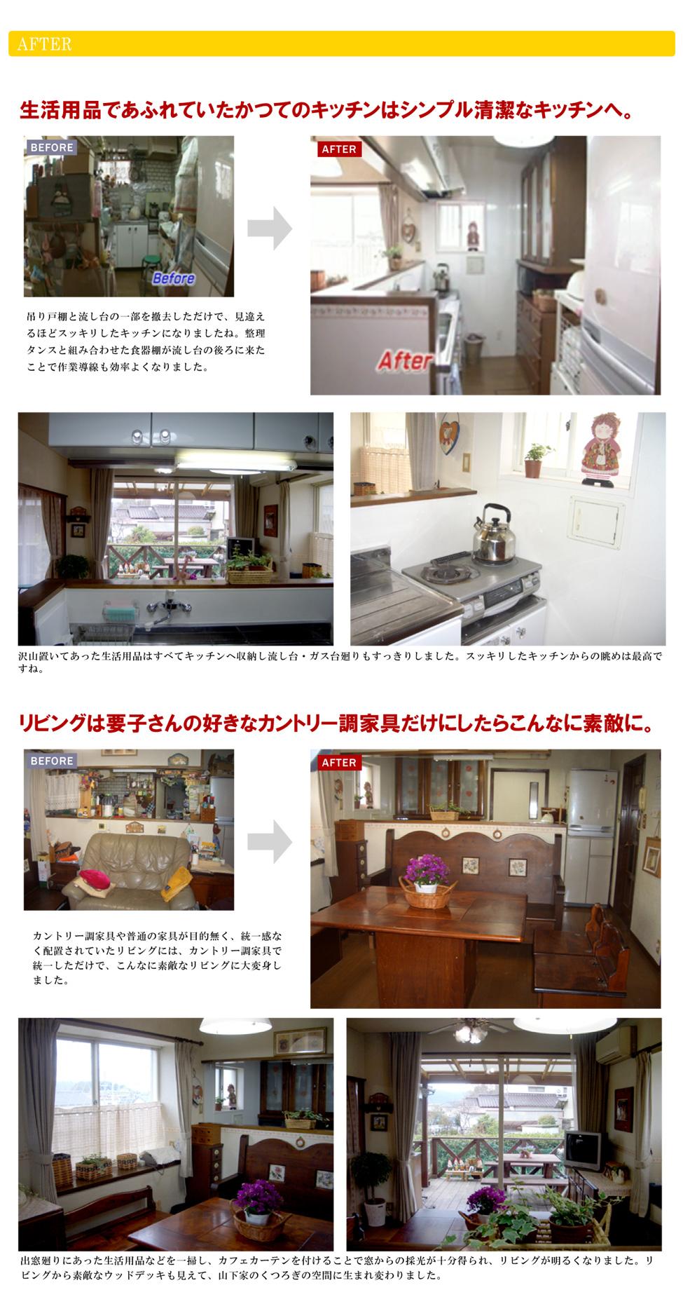 生活用品であふれていたかつてのキッチンはシンプル清潔なキッチンへ。吊り戸棚と流し台の一部を撤去しただけで、見違えるほどスッキリしたキッチンになりましたね。整理タンスと組み合わせた食器棚が流し台の後ろに来たことで作業導線も効率よくなりました。沢山置いてあった生活用品はすべてキッチンへ収納し流し台・ガス台廻りもすっきりしました。スッキリしたキッチンからの眺めは最高ですね。リビングは要子さんの好きなカントリー調家具だけにしたらこんなに素敵に。カントリー調家具や普通の家具が目的無く、統一感なく配置されていたリビングには、カントリー調家具で統一しただけで、こんなに素敵なリビングに大変身しました。出窓廻りにあった生活用品などを一掃し、カフェカーテンを付けることで窓からの採光が十分得られ、リビングが明るくなりました。リビングから素敵なウッドデッキも見えて、山下家のくつろぎの空間に生まれ変わりました。
