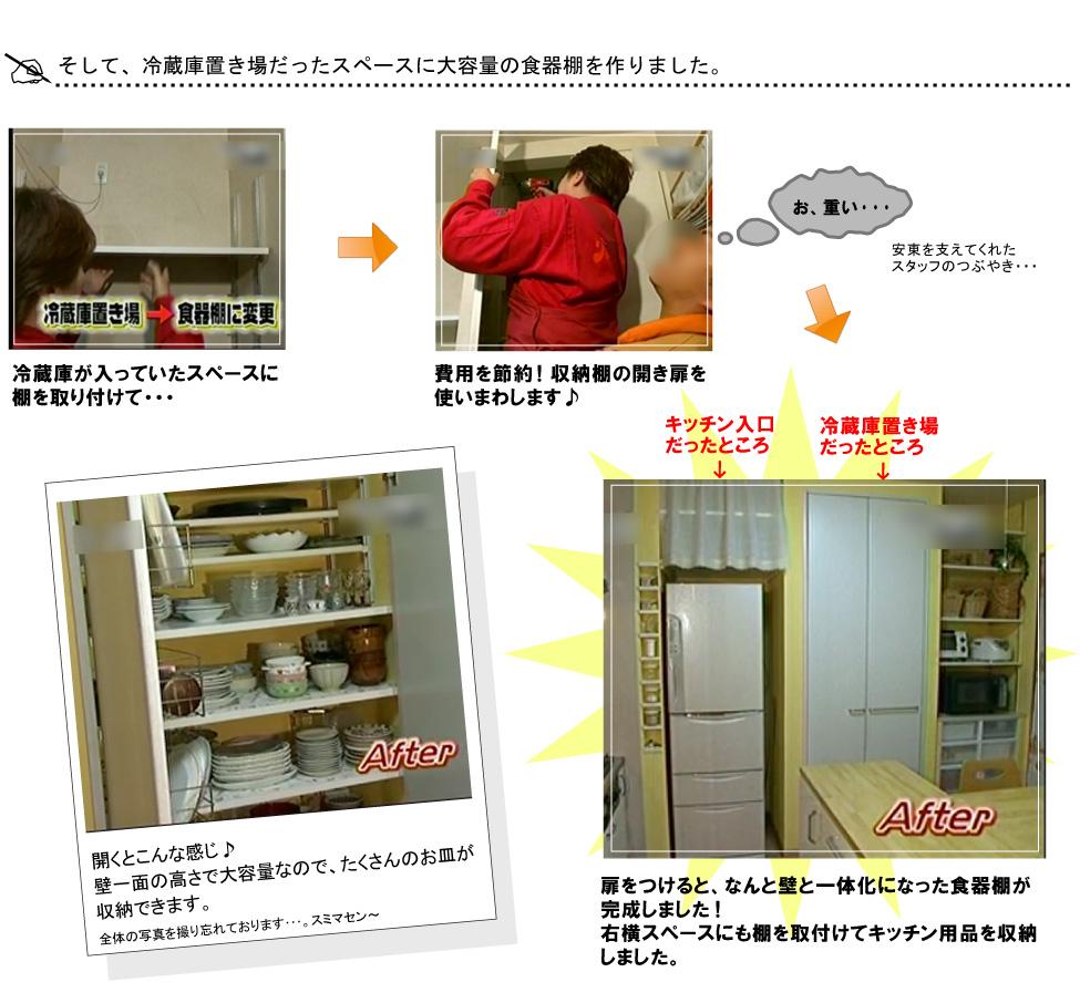 そして、冷蔵庫置き場だったスペースに大容量の食器棚を作りました。冷蔵庫が入っていたスペースに棚を取り付けて・・・費用を節約!収納棚の開き扉を使いまわします♪開くとこんな感じ♪壁一面の高さで大容量なので、たくさんのお皿が収納できます。扉をつけると、なんと壁と一体化になった食器棚が完成しました!右横スペースにも棚を取付けてキッチン用品を収納しました。