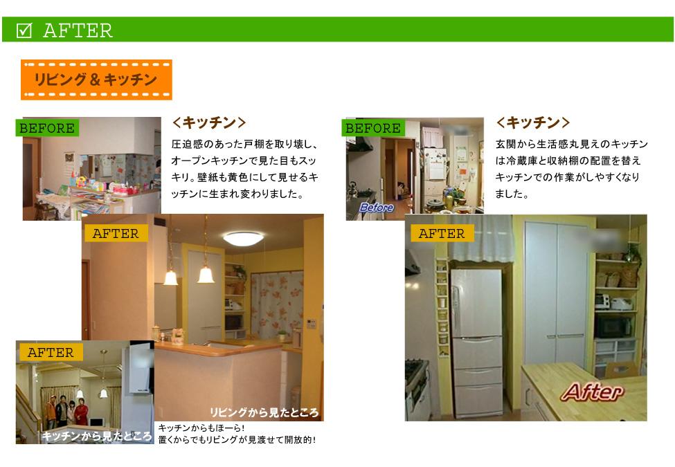 リビング&キッチン<キッチン>圧迫感のあった戸棚を取り壊し、オープンキッチンで見た目もスッキリ。壁紙も黄色にして見せるキッチンに生まれ変わりました。キッチンからもほーら!置くからでもリビングが見渡せて開放的!<キッチン>玄関から生活感丸見えのキッチンは冷蔵庫と収納棚の配置を替えキッチンでの作業がしやすくなりました。