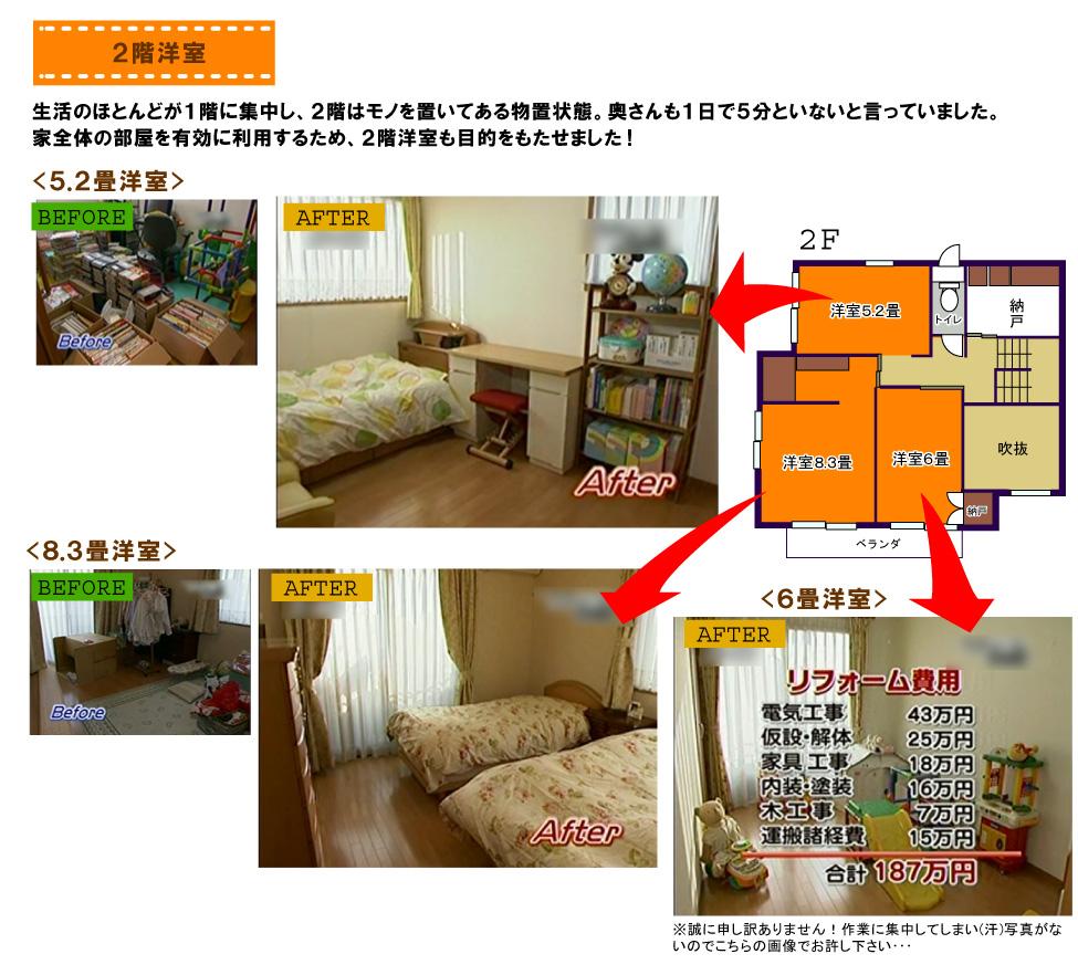 2階洋室:生活のほとんどが1階に集中し、2階はモノを置いてある物置状態。奥さんも1日で5分といないと言っていました。家全体の部屋を有効に利用するため、2階洋室も目的をもたせました!
